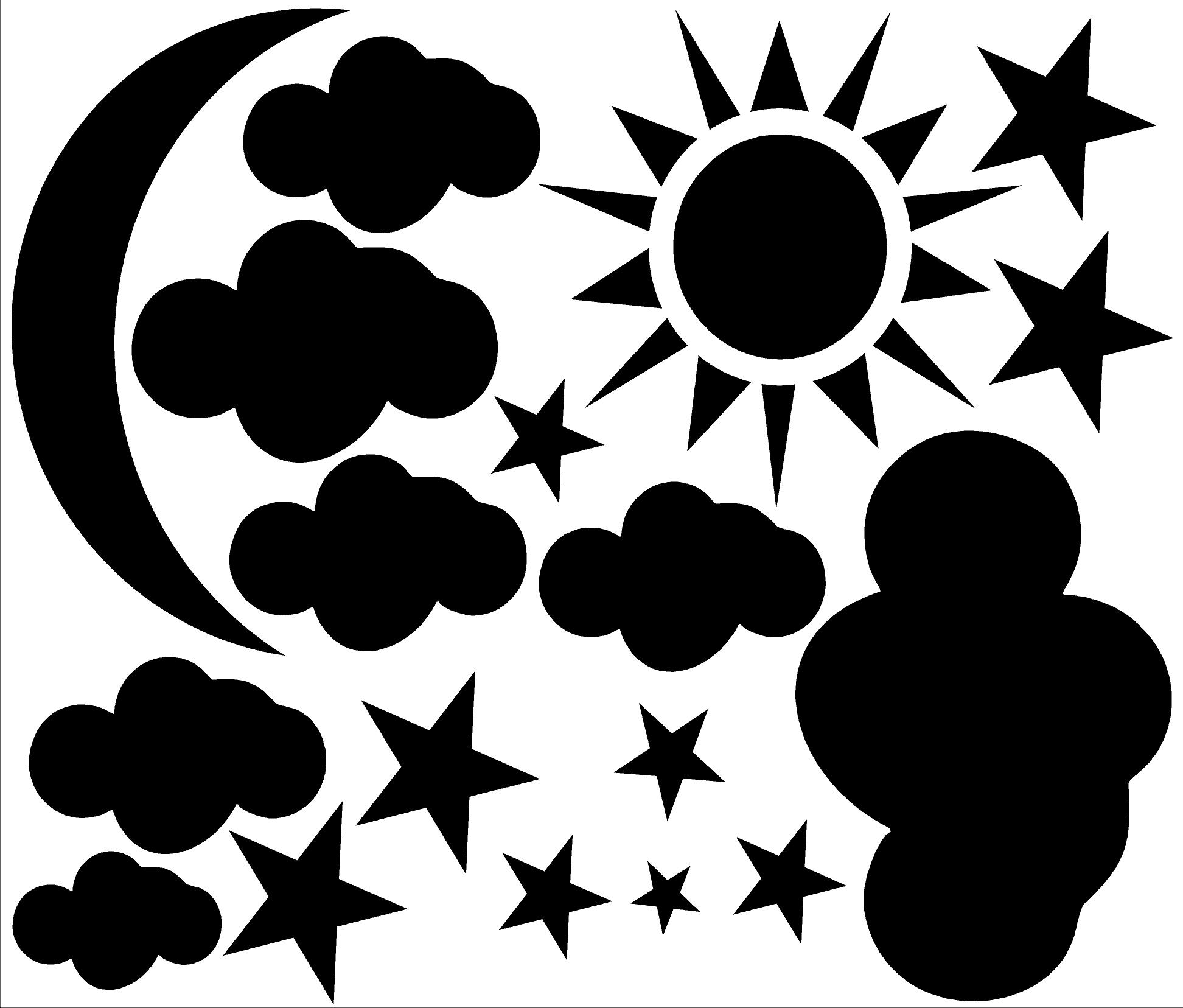 Sun,Moon,Cloud,Stars Vinyl Wall Decal · International Expressions ...