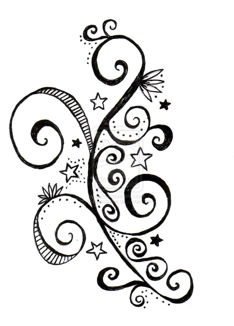 star and swirls tattoo design by lynettecooper on deviantart. Black Bedroom Furniture Sets. Home Design Ideas