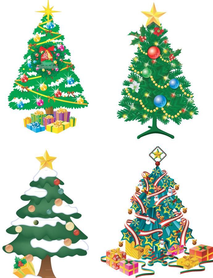 Christmas tree illustration cliparts