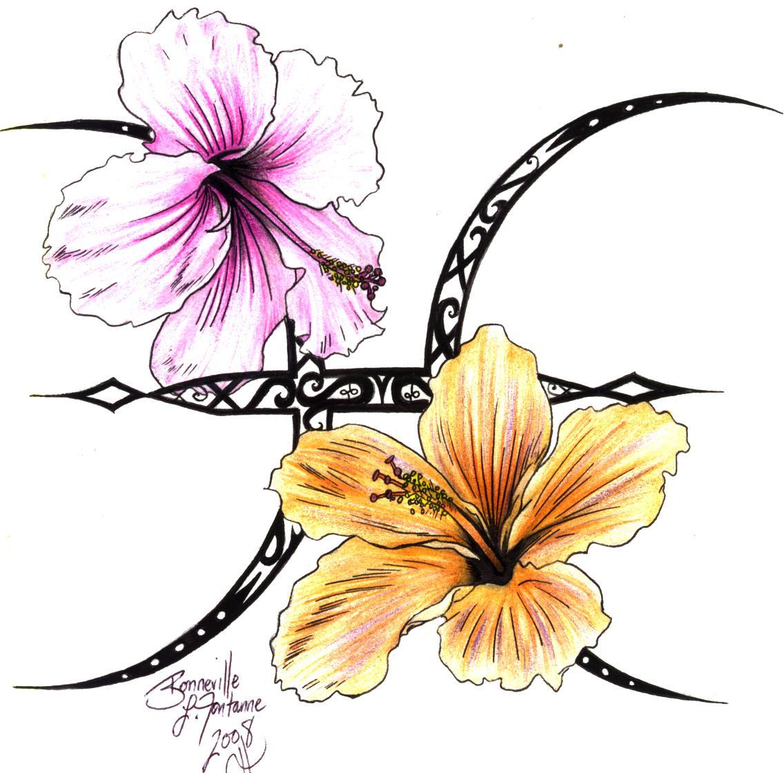 Hibiscus Tattoo Outline: Hibiscus Outline