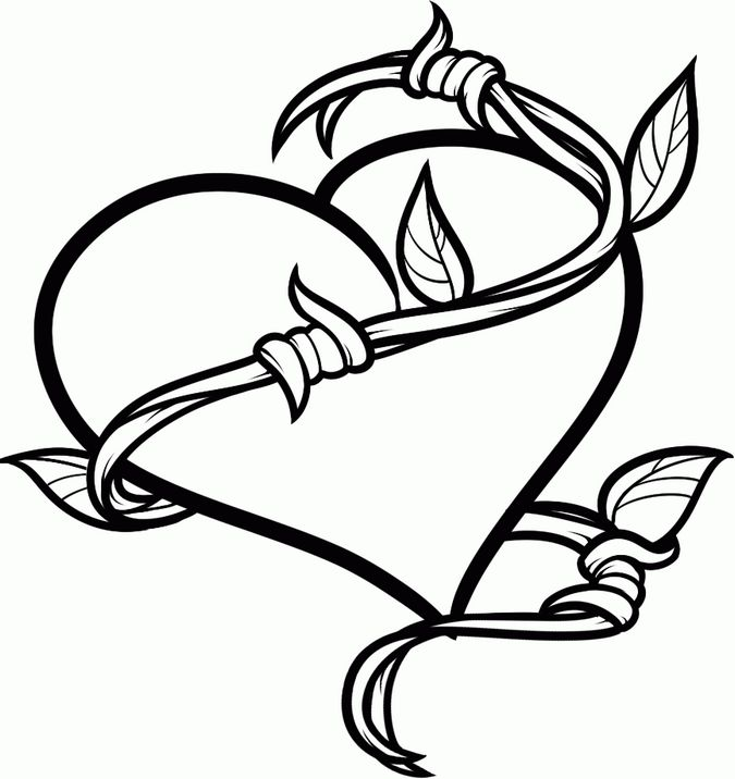 hearts tattoos coloring pages - photo#20