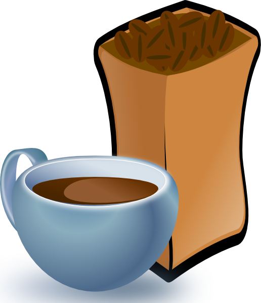 Cup Of Coffee With Sack Of Coffee Beans clip art - vector clip art ...