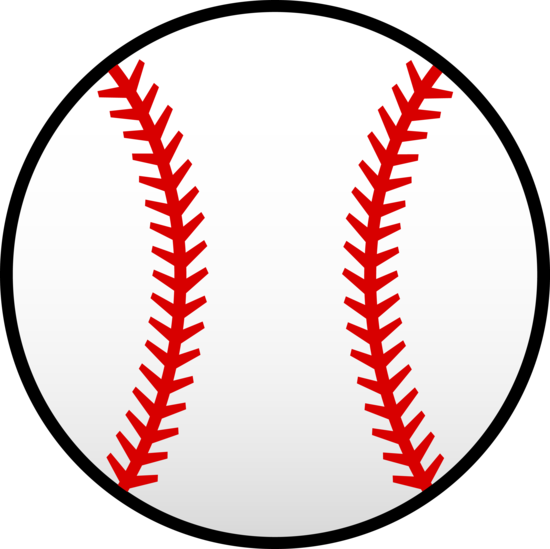 White Baseball With Red Seams - Free Clip Art