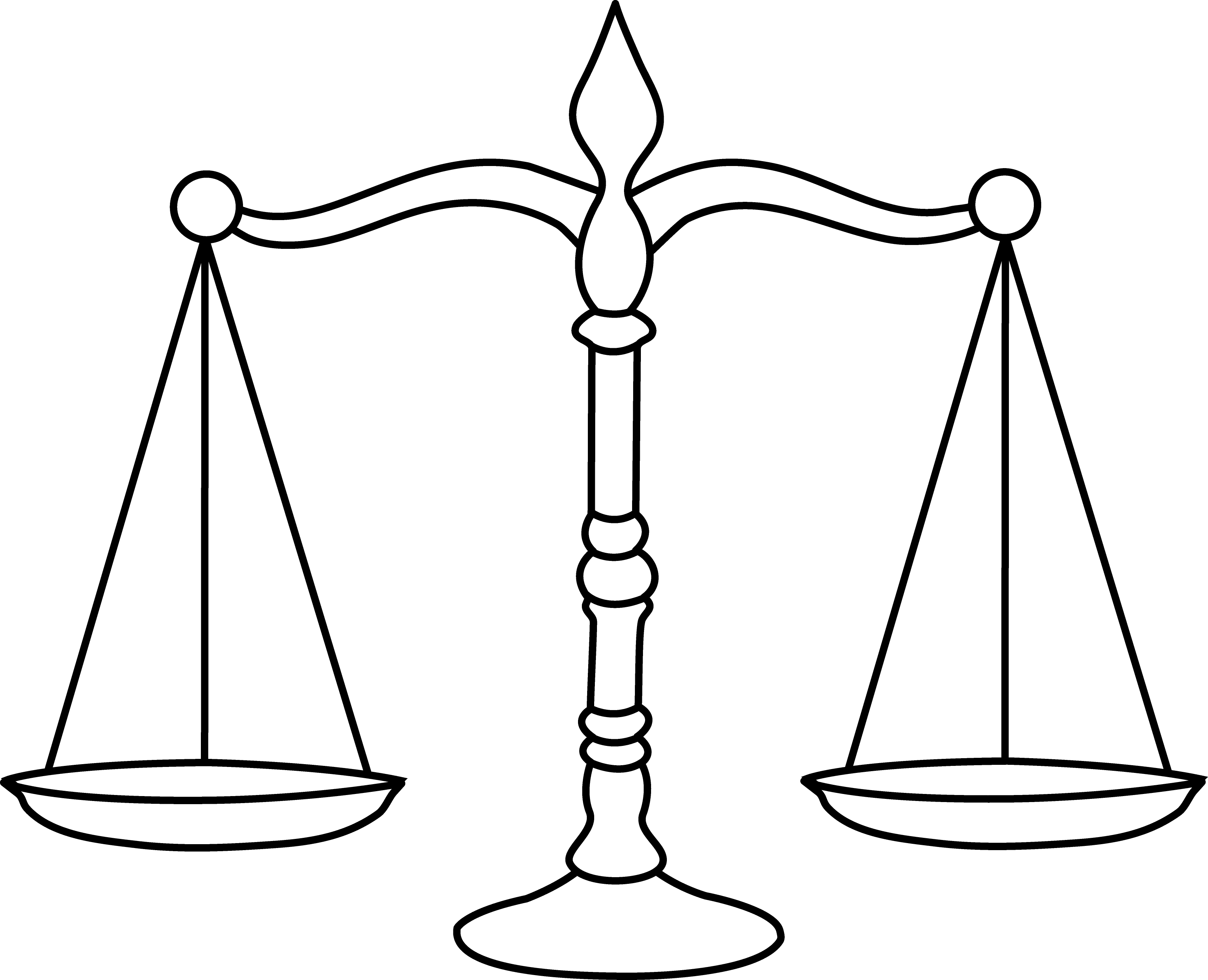 Legal Scales Line Art - Free Clip Art