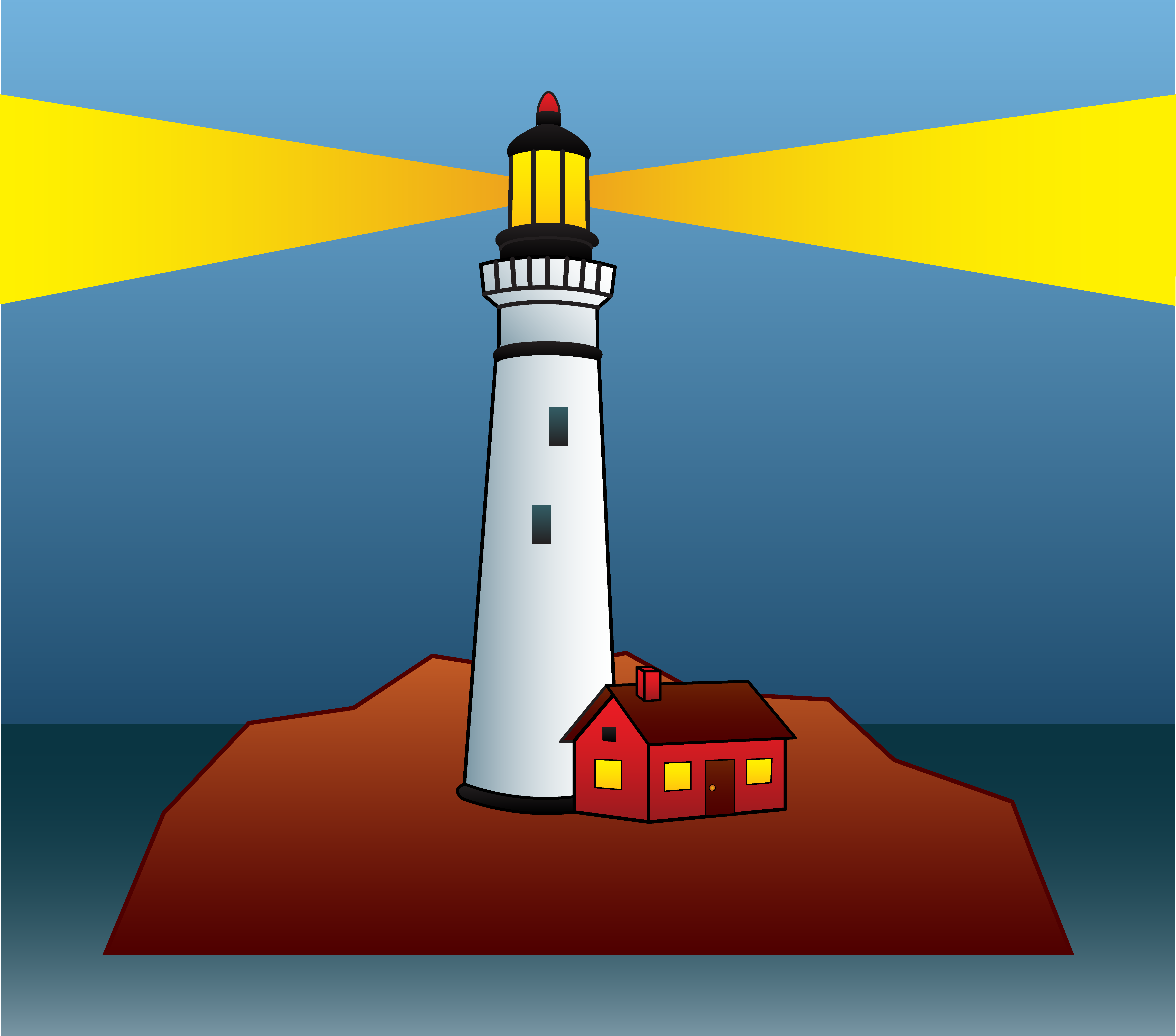 Lighthouse Shining Light At Night - Free Clip Art