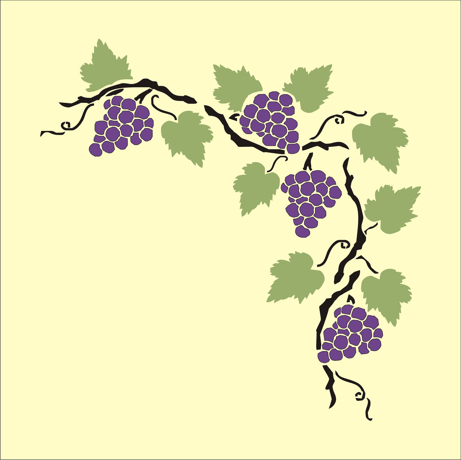Grape Vine Stencil - Cliparts.co