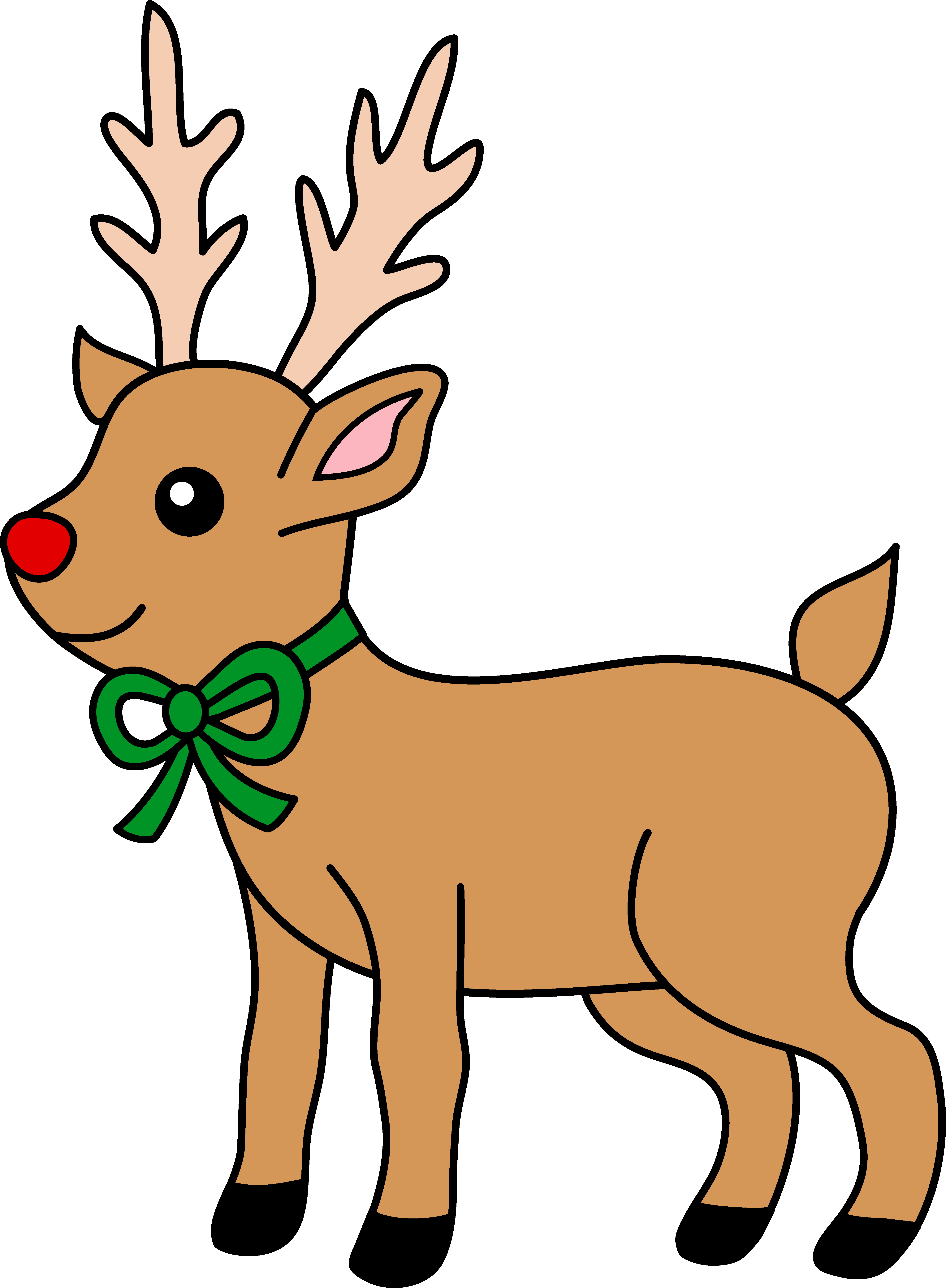 Cute Red-Nosed Reindeer Clipart - Free Clip Art