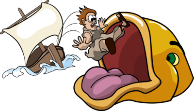 Jonah Tossed From Ship and Caught by Giant Fish | Jonah Clip Art ...