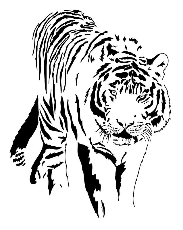 free black and white tiger clipart - photo #45