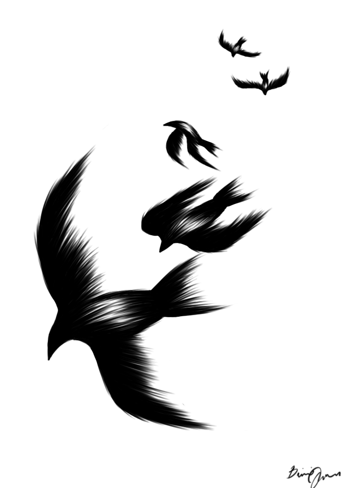Чёрные птицы тату
