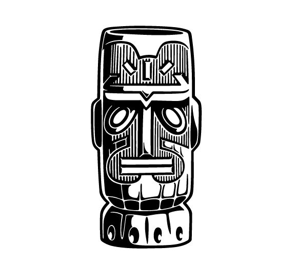 Tiki Clip Art Black And White | Clipart Panda - Free Clipart Images