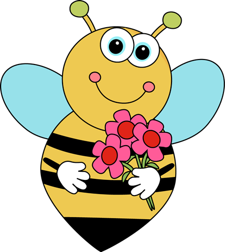 Cartoon Valentine's Bee with Flowers Clip Art - Cartoon ...