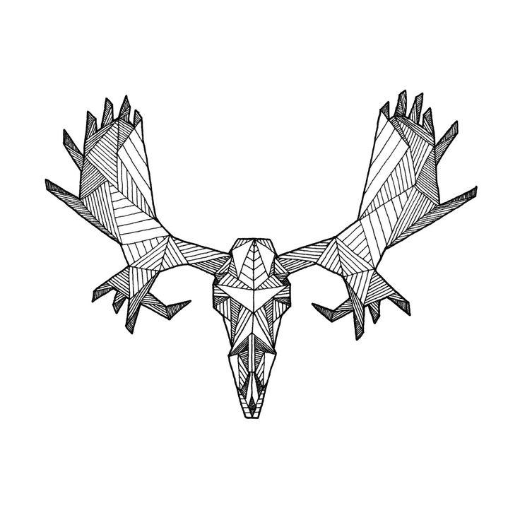 Moose Drawing Outline Moose Skull Drawing