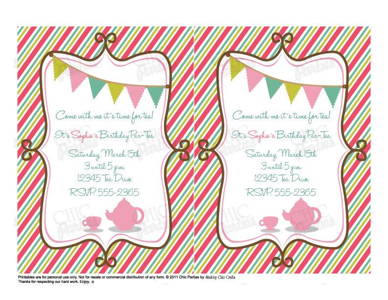 Garden Tea Party Invitation Design With Aqua And Pink Color : Card ...