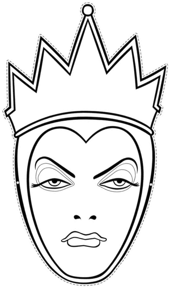 Printable Halloween Masks Snow White Face Outline