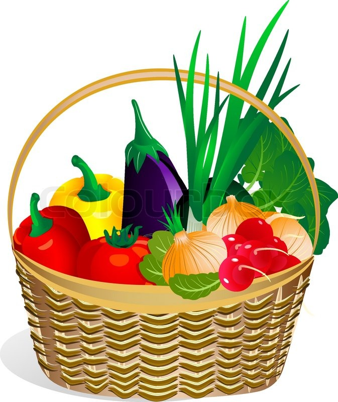 Vegetables basket cartoon