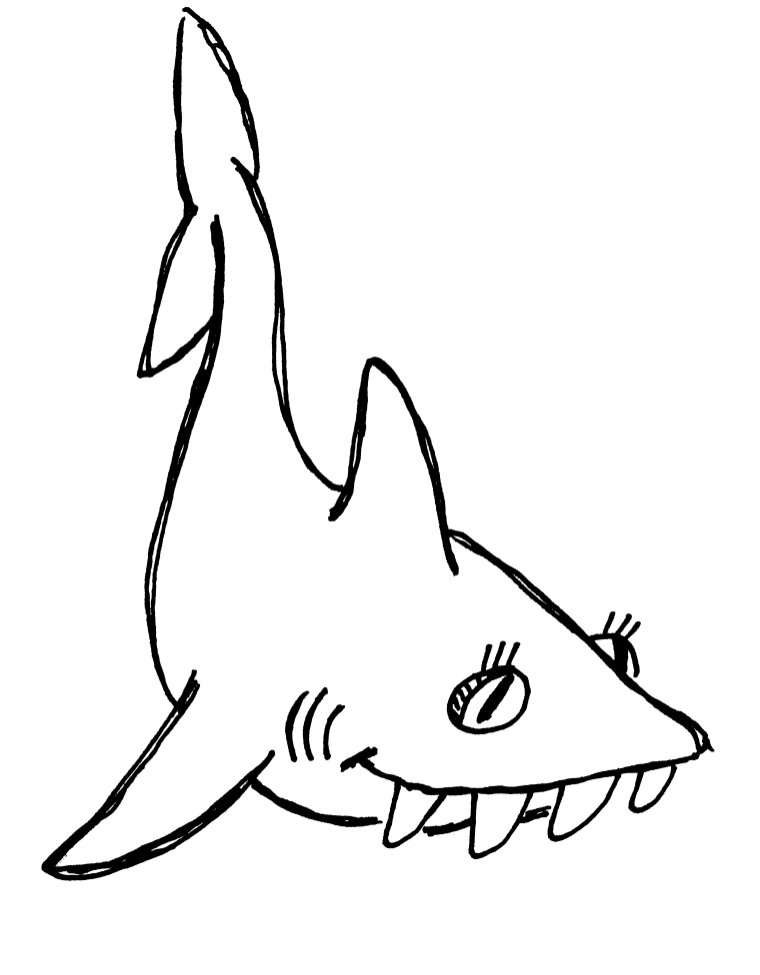 Line Art Shark : Summer reading clip art cliparts