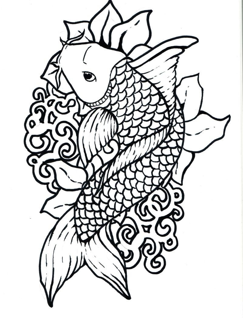 Fish #10 (Animals) – Printable coloring pages | 1046x800