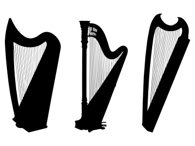 Harp Silhouette, Black and White Harps Music Clipart | Just Free ...
