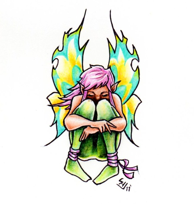 Fairy Sitting Tattoo Sample | Tattoobite.com