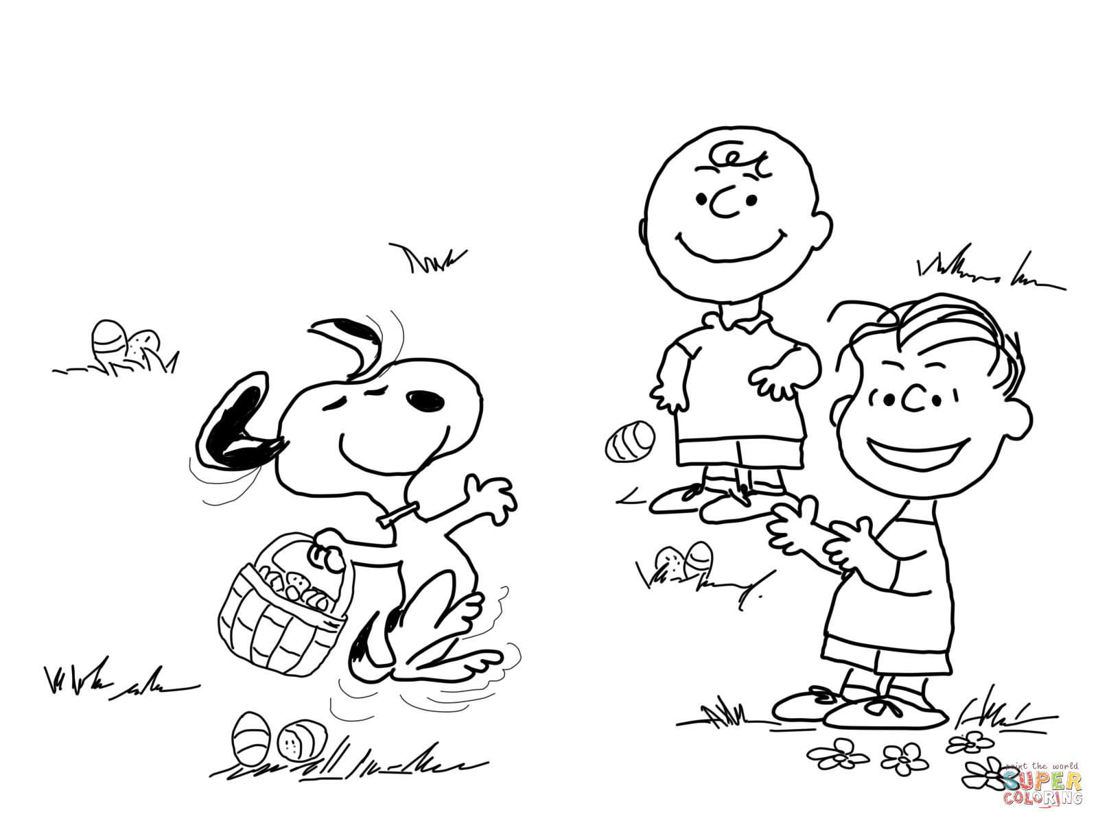 charlie brown easter coloring page free printable coloring pages - Snoopy Friends Coloring Pages