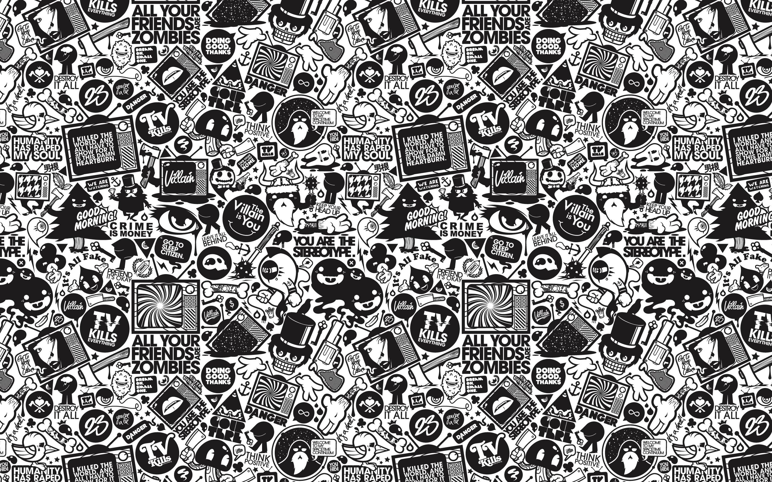 Retro Black And White Design Vector Hd Wallpaper