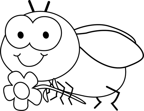 Black and White Fly and Flower Clip Art - Black and White Fly and ...