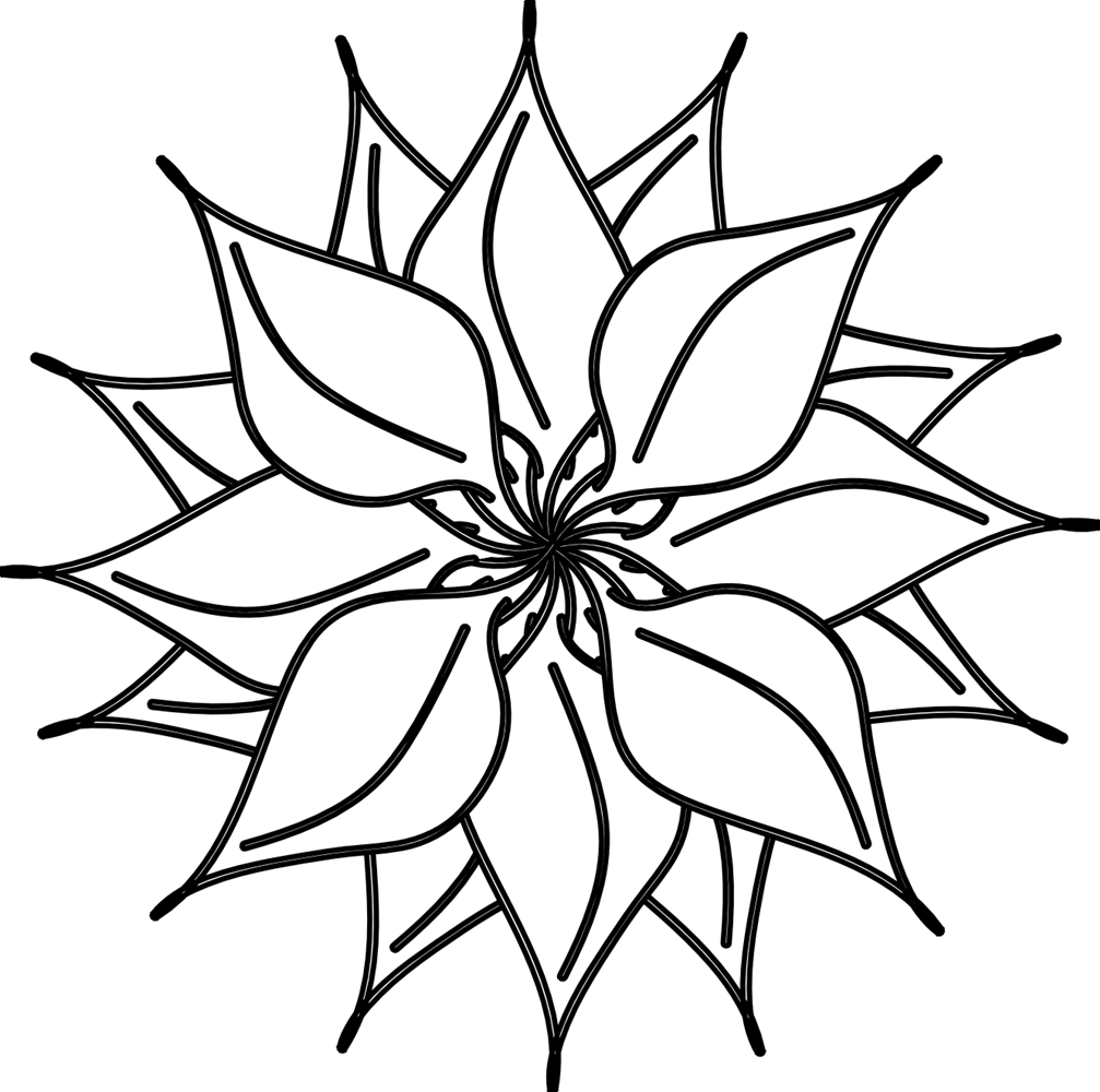 Flowers Clip Art Black and White | Many Flowers