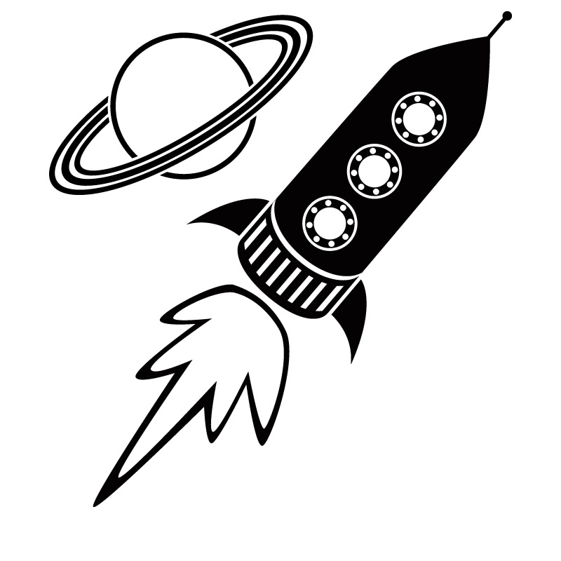 Rocket Space Ship And Planet Wall Sticker - World of Wall Stickers