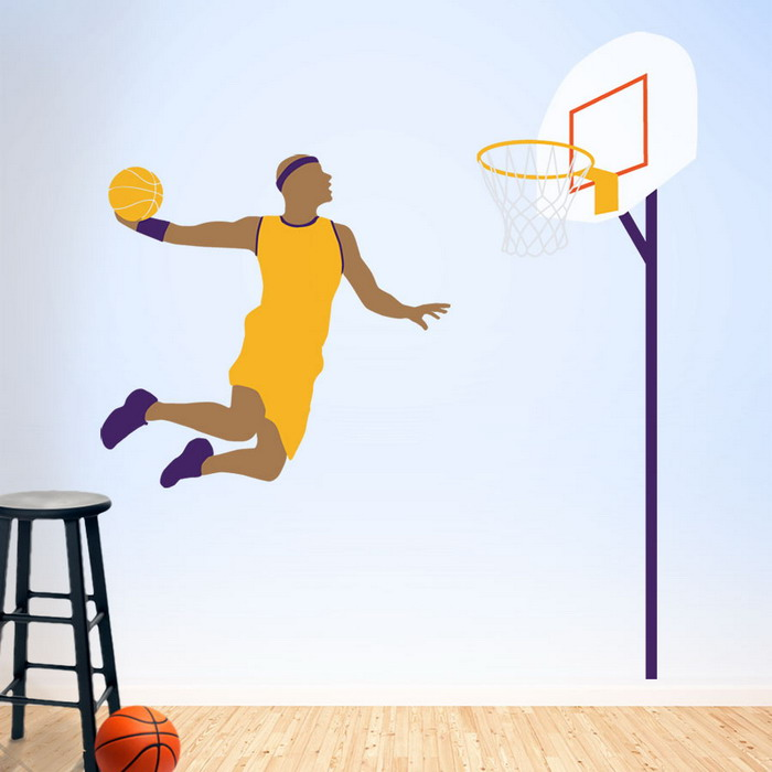 Basketball wall mural wallpaper mural ideas 14378 for Basketball mural wallpaper