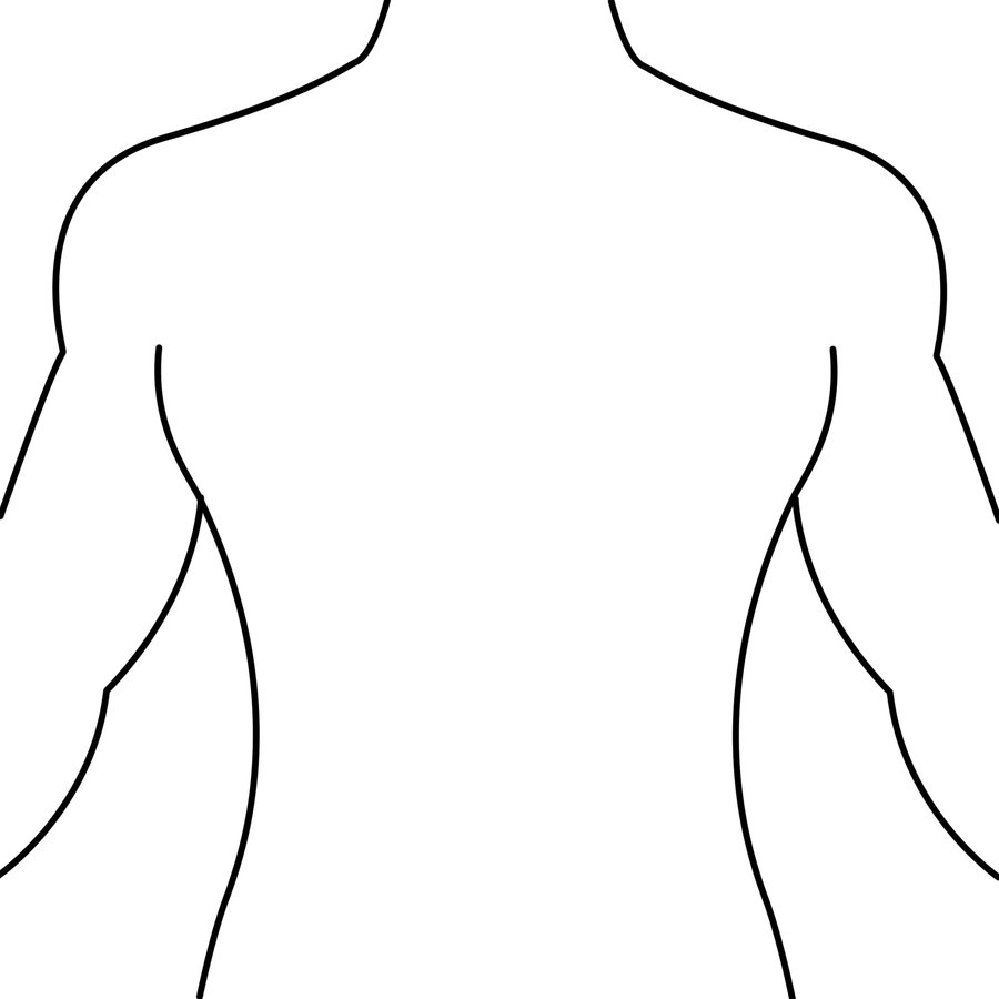 Human Body Outline Front and Back Drawing - Health Token - ClipArt ...