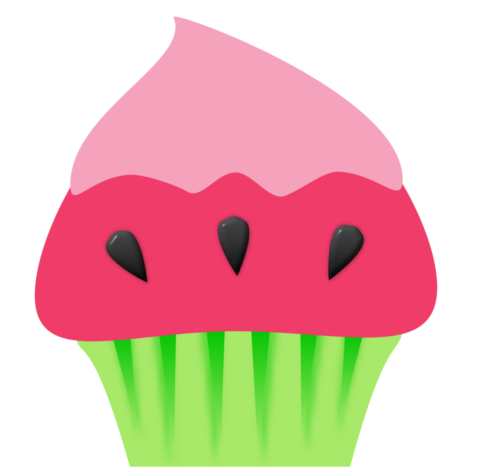 Watermelon Cupcake Graphic | Cupcake Clipart