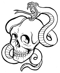 Skull with Snake Clip Art stock illustration Illustration