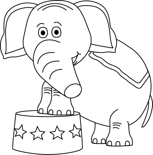Black and White Circus Elephant Clip Art - Black and White Circus ...