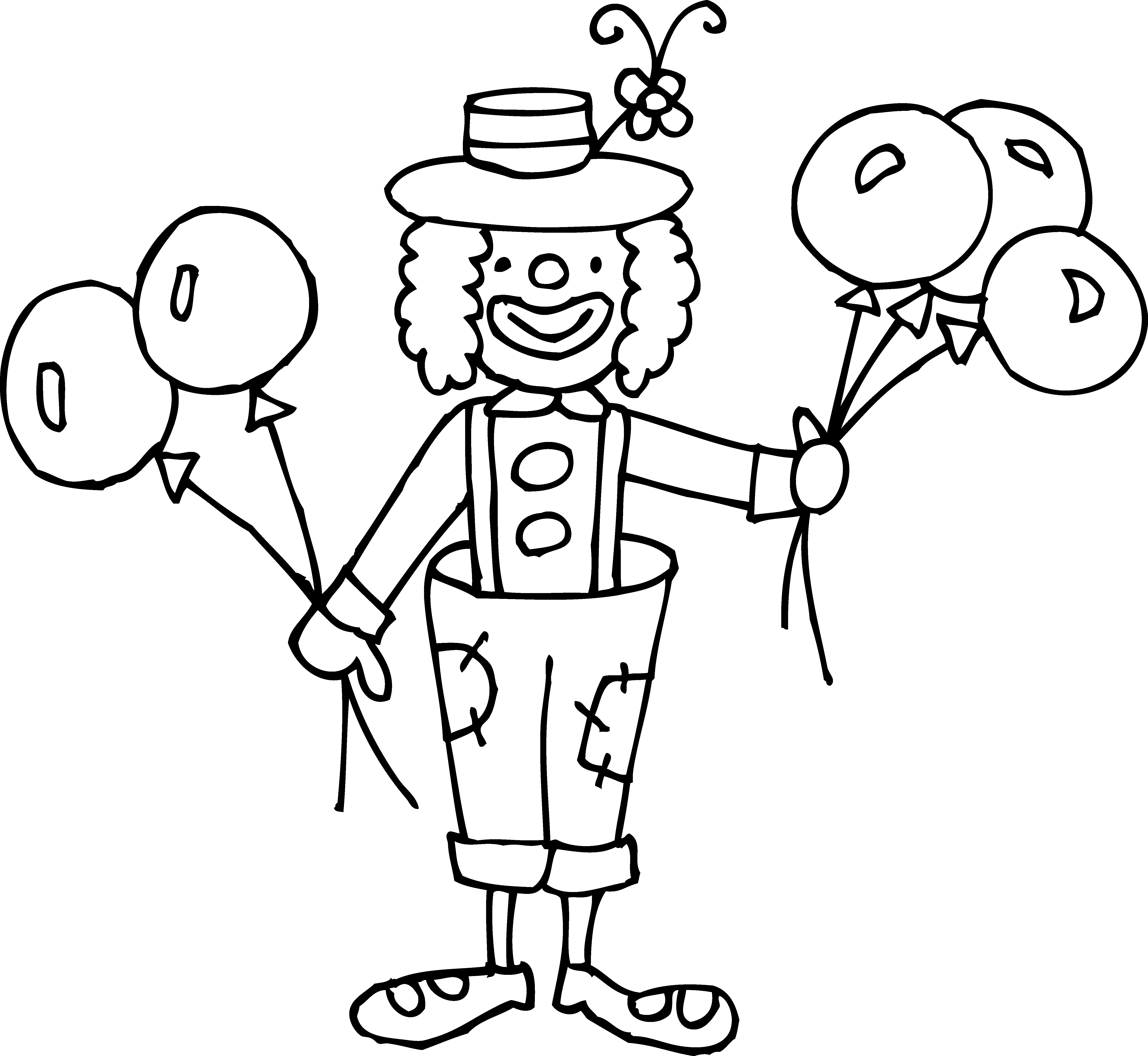 Silly Clown Coloring Page - Free Clip Art