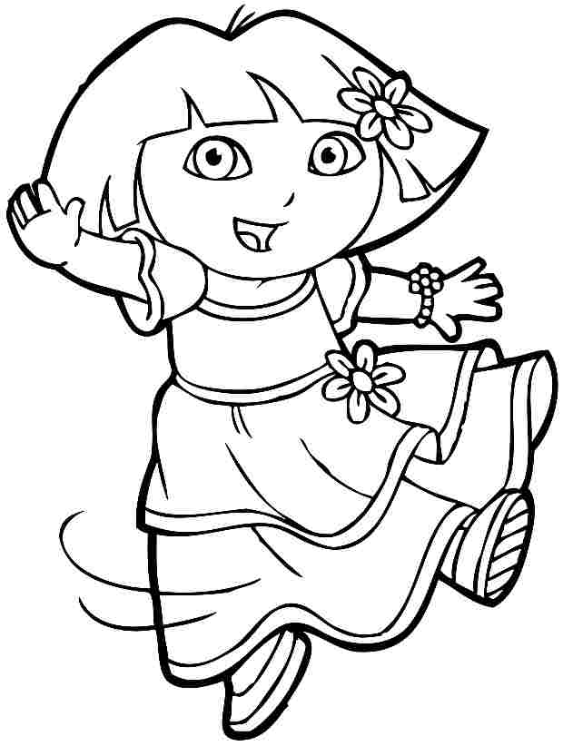 Pictures of cartoon little girls for Dora black and white coloring pages
