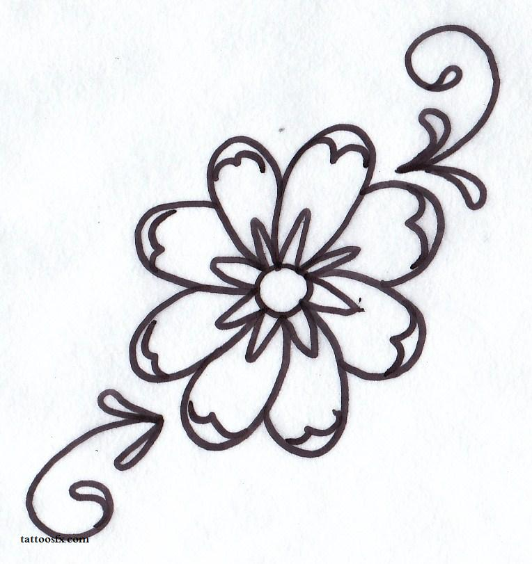 Simple Flower Tattoo Designs Images