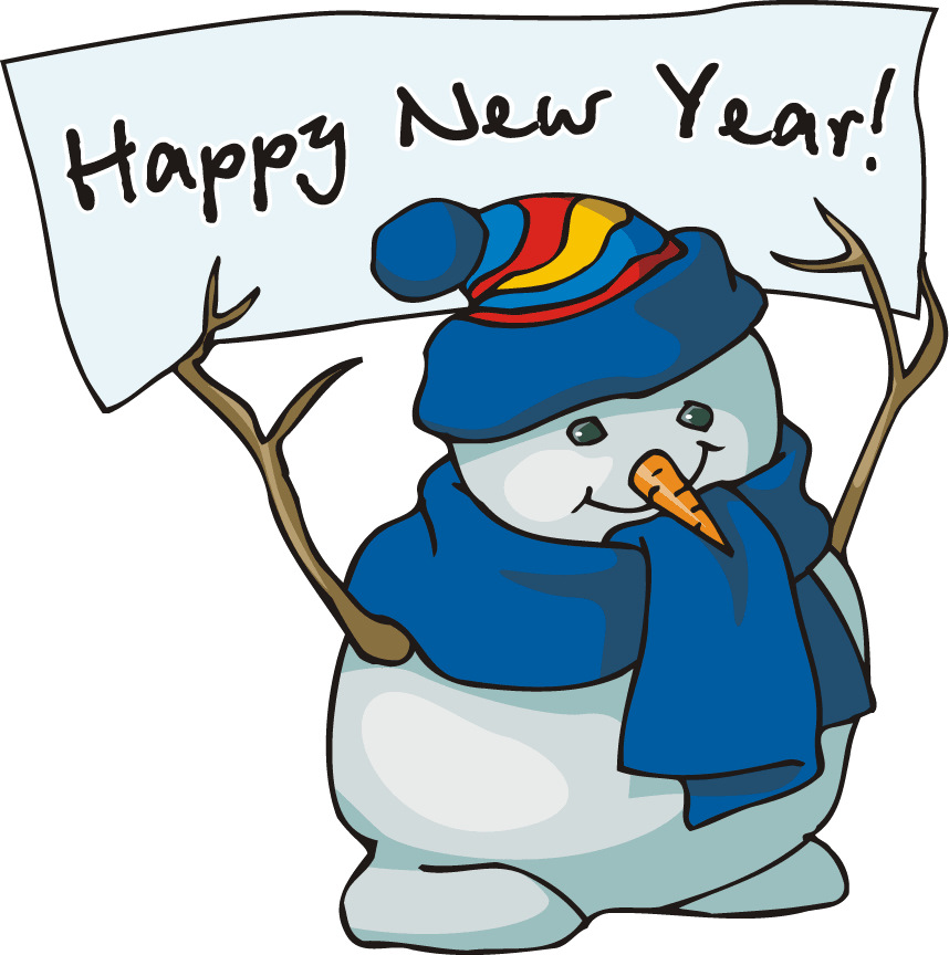 2014 happy new year snowman clip art for preschoolers - Coloring Point