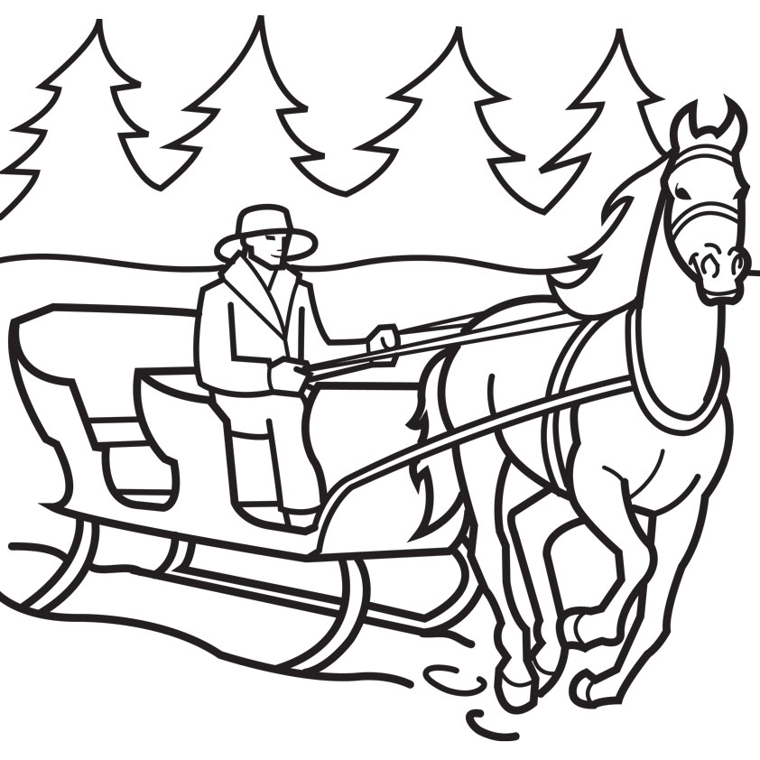 christmas children sledding coloring pages - photo#33