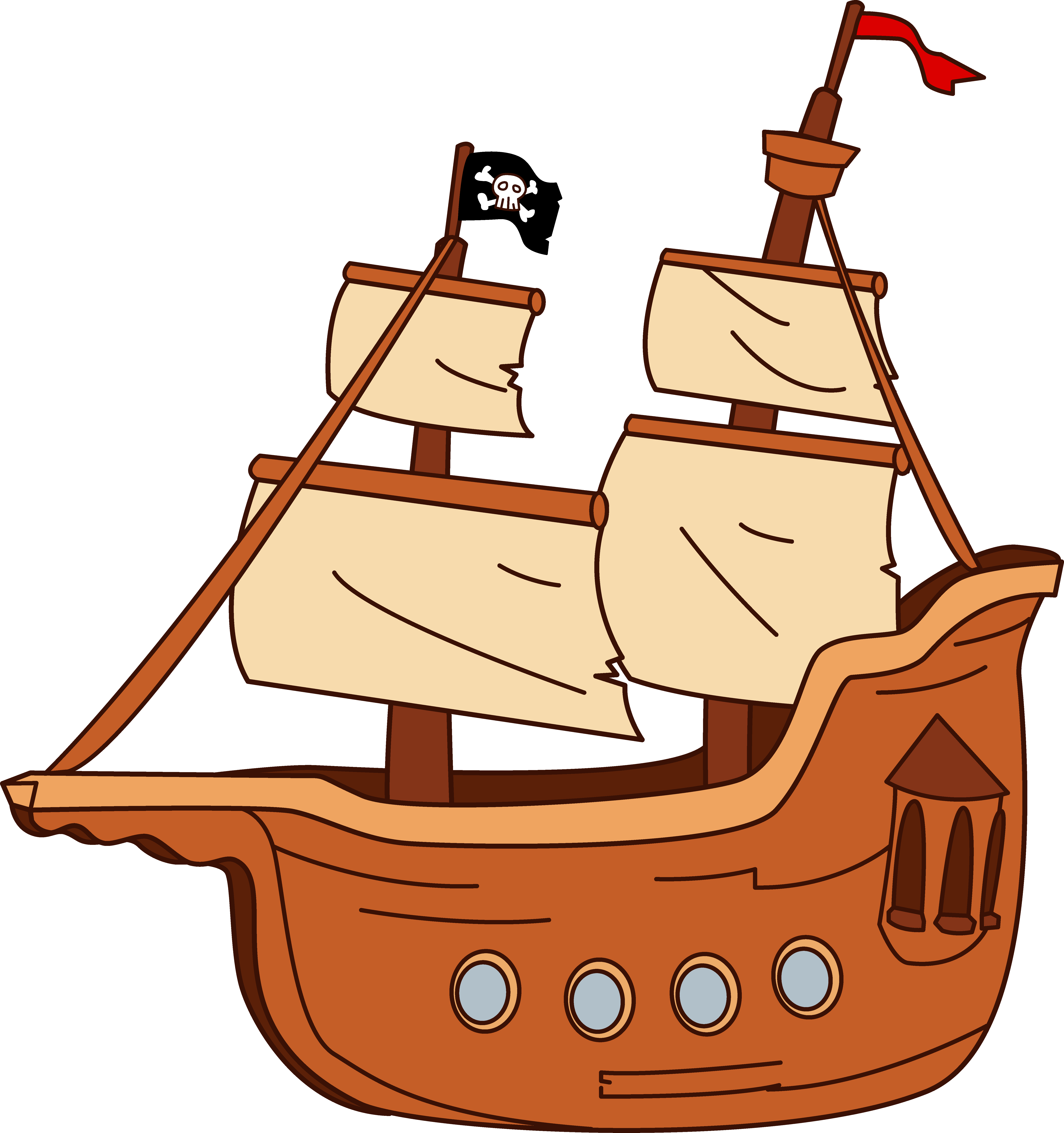Pirate Ship Design - Free Clip Art