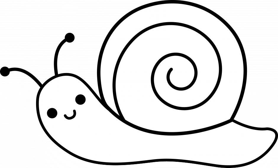 Cartoon Clipart Of A Black And White Happy Snail Vector Outlined ...