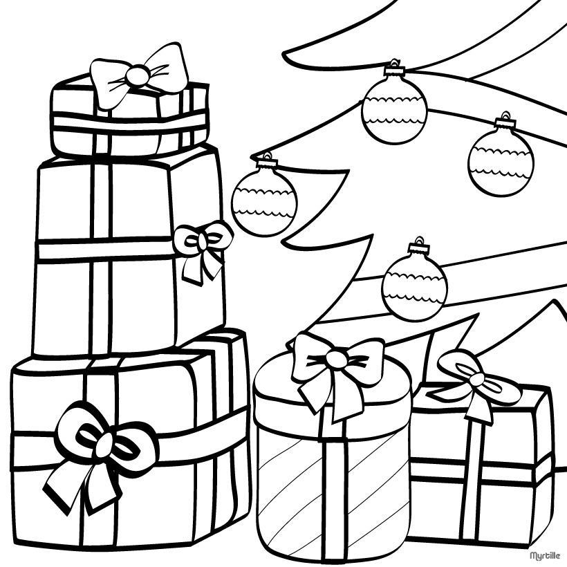 CHRISTMAS TREE coloring pages - Wrapped gifts and Xmas tree
