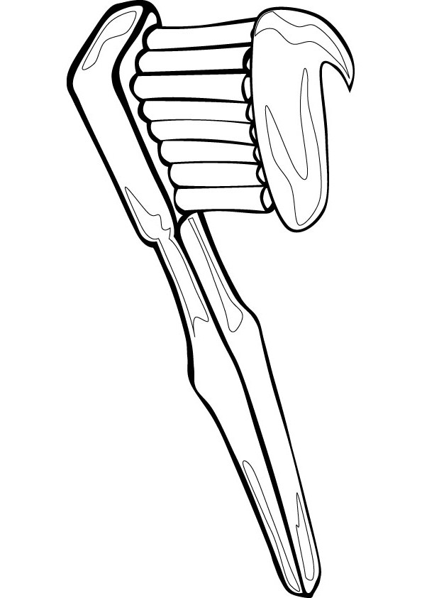Toothbrush Coloring Page