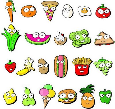 Cute Cartoon Food Pictures on Healthy Food Coloring Page