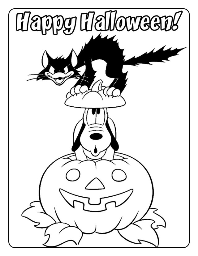 New Halloween Coloring Pages Of Pluto And Scary Cat | Laptopezine.