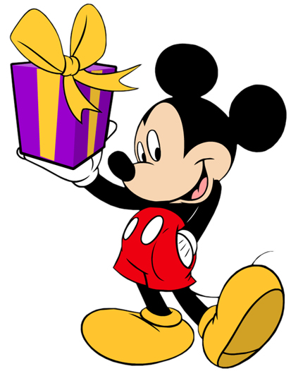 Disney Character Mickey Mouse Birthday Present Clipart
