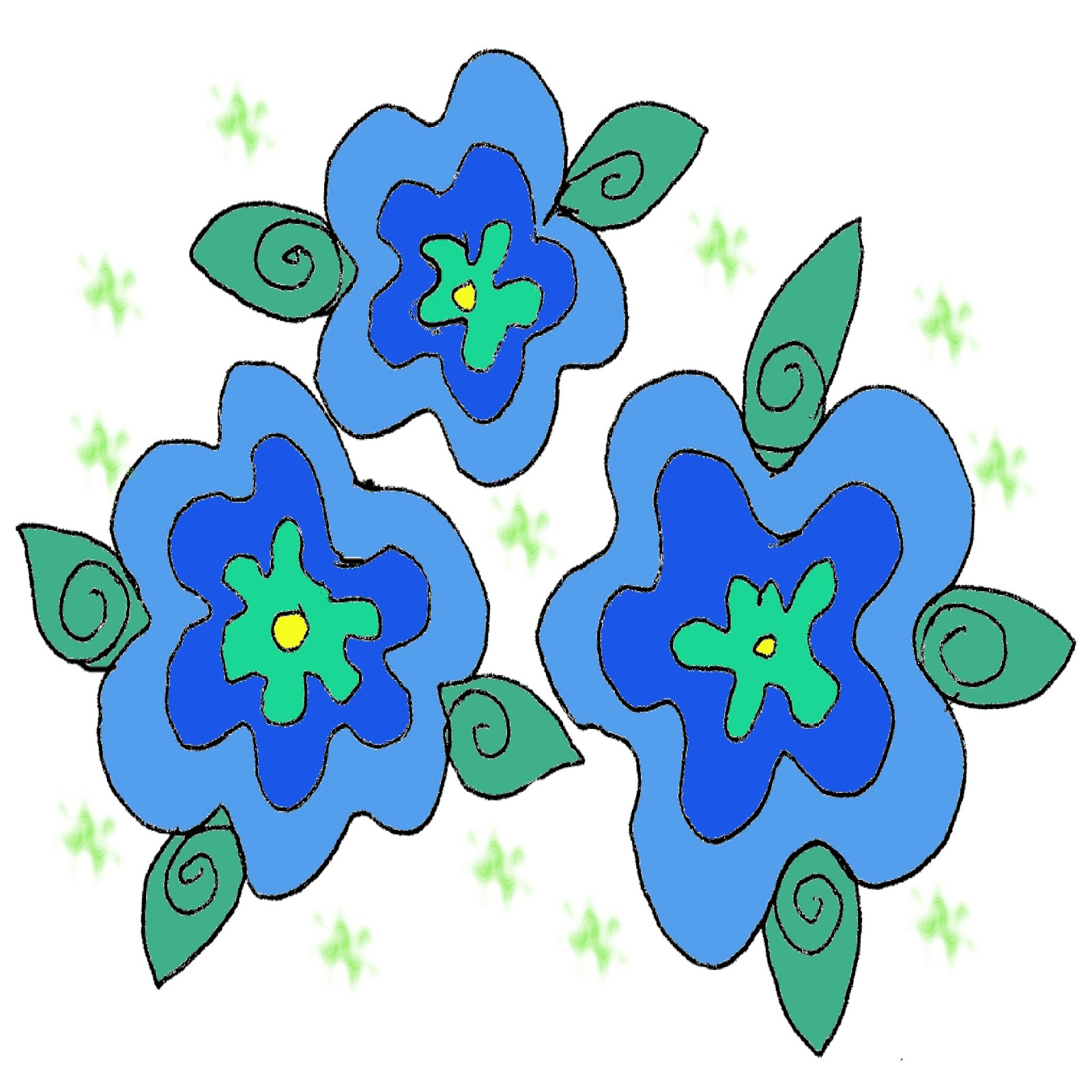 Flowers For > Orange And Blue Flower Clip Art