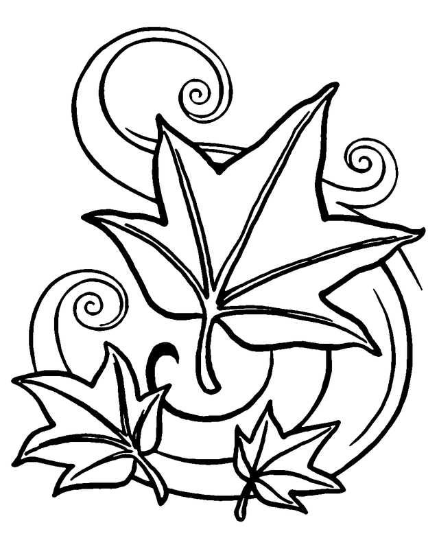 Autumn leaves coloring page - Free Printable Coloring Pages