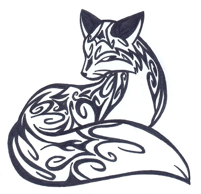Line Drawing Animal Tattoos : Cool tribal fox designs to draw cliparts