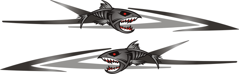 set of bad as piranha boat full graphics fishing decals grey ebay